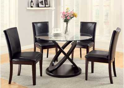 Atenna I Dark Walnut Glass Top Round Dining Table w/4 Side Chairs