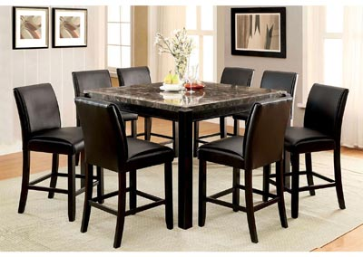 Gladstone ll Black Marble Top Counter Height Table w/6 Counter Height Chairs