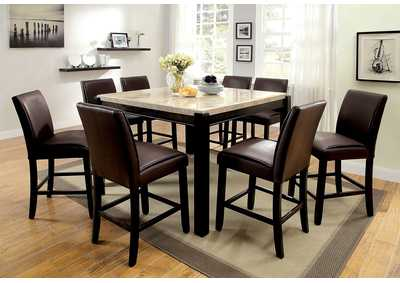 Gladstone II Dark Walnut Marble Top Counter Height Table w/8 Counter Height Chairs