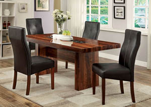 Bonneville l Cherry & Faux Marble Insert Dining Table w/4 Side Chairs