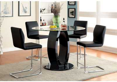 Lodia II Black Round Counter Height Table w/4 Counter Height Chairs