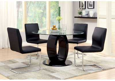 Lodia I Black Glass Top Round Table w/4 Side Chairs