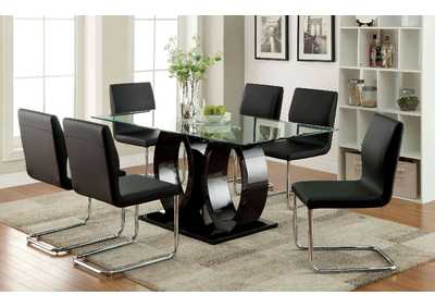 Lodia I Black 10mm Glass Top Dining Table w/4 Side Chairs