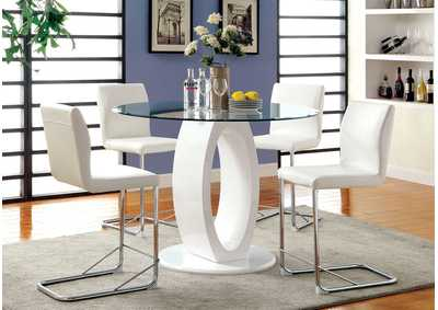 Lodia II White Round Counter Height Table w/4 Counter Height Chairs