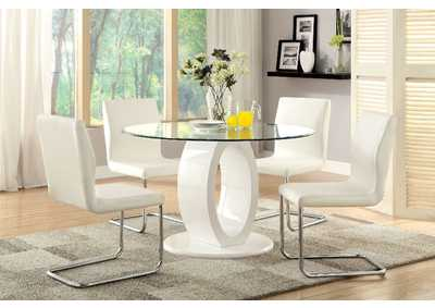 Lodia I White Glass Top Round Table w/4 Side Chairs