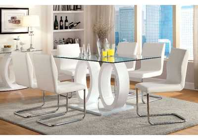 Lodia I White 10mm Glass Top Lodia Dining Table w/4 Side Chairs