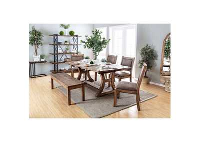 Gianna Rustic Pine 77' Dining Table w/4 Side Chairs and Bench