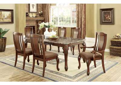 Johannesburg I Brown Cherry Dining Table w/Faux Marble Top