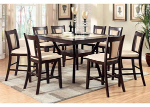 Brent II Dark Cherry and Ivory Marble Top Insert Counter Height Table w/6 Counter Height Chairs