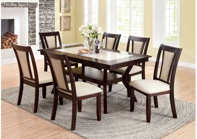 Brent Cherry & Ivory Faux Marble Insert Dining Table w/4 Side Chairs