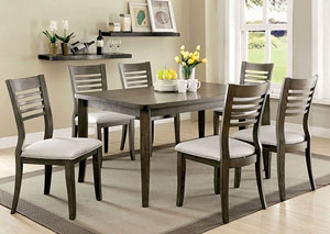 Dwight III Gray Dining Table w/6 Side Chairs