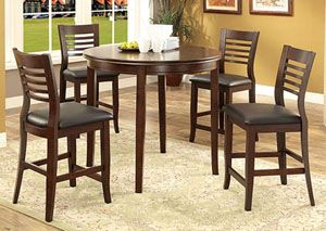 Dwight II Medium Oak Round Counter Height Table w/4 Counter Height Chairs