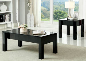 Lonia Black Lacquer End Table