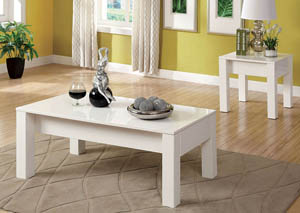 Lonia White Lacquer End Table