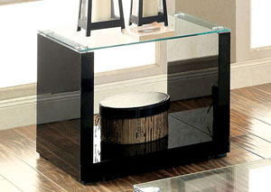 Myla Black Glass-Top End Table w/Shelf