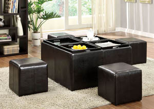 Image for Holloway Espresso Nested Ottoman w/4 Nested Ottomans & Flip-Top Trays
