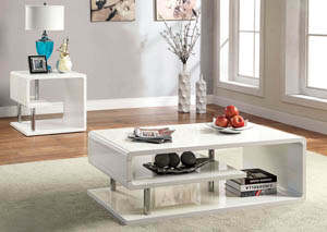 Ninove l White Lacquer End Table w/Curled Shelving