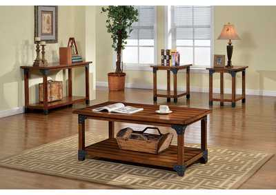 Bozeman Antique Oak Finish 3 Piece Table Set (Coffee & 2 End)