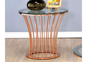 Celise Rose Gold Round End Table w/Glass Top