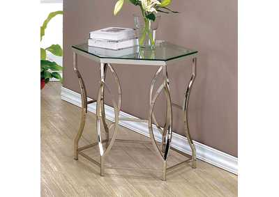 Zola Chrome Geometric End Table w/Glass Top