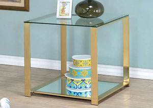 Aneta Champagne Glass-Top End Table