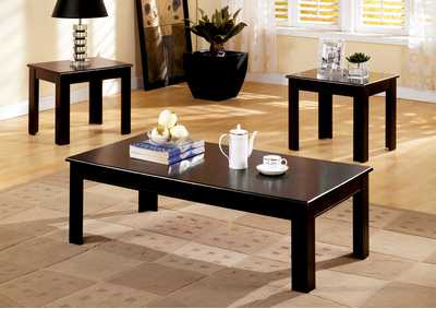Town Square l 3 Piece Espresso Table Set (Coffee & 2 End Tables)