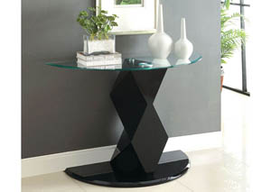 Halawa V Black Lacquer Glass Top Sofa Table