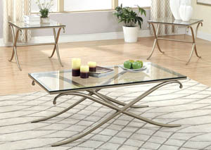 Viscontti 3 Piece Champagne Finish Tempered Glass Top Table Set (Coffee Tale & 2 End Tables)