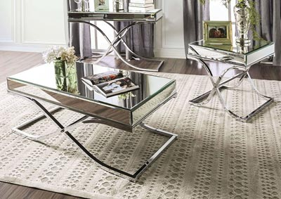 Sundance Chrome Metal End Table w/5mm Mirror Glass Top