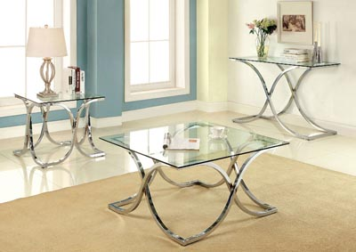 Luxa Chrome Tempered Glass Top Sofa Table w/Curved Legs