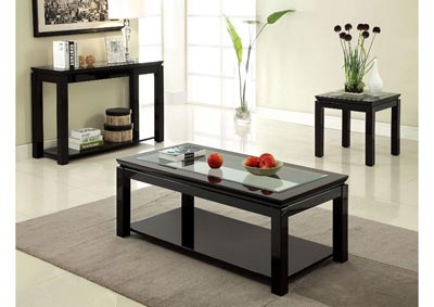 Venta Black Lacquer Glass Top End Table w/Open Shelf