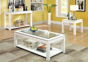 Venta White Lacquer Glass Top Sofa Table w/Open Shelf