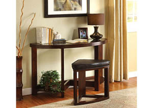 Crystal Cove ll Dark Walnut Half-Oval Sofa Table w/Glass Top & Stool