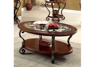 May Brown Cherry Ornate Coffee Table w/Glass Top & Shelf