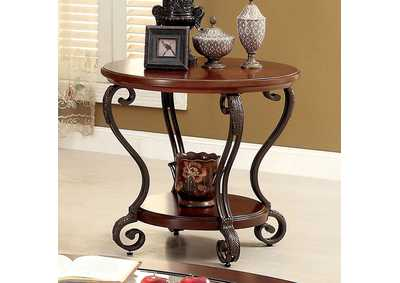 May Brown Cherry Ornate End Table w/Glass Top & Shelf
