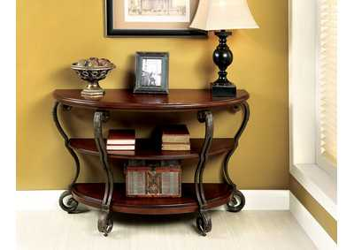 May Brown Cherry Ornate Sofa Table w/2 Shelves