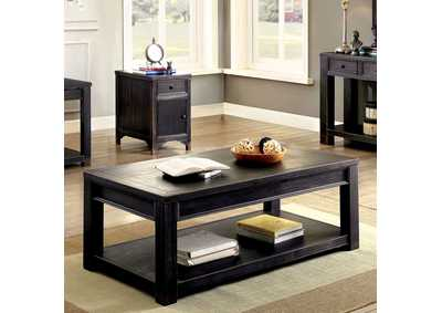 Meadow Antique Black Coffee Table w/Shelf