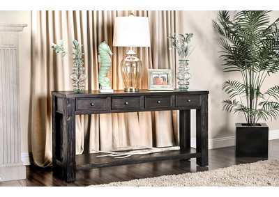 Meadow Antique Black 4 Drawer Sofa Table w/Shelf
