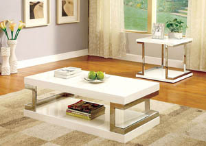 Meda White Lacquer Coffee Table w/Chrome Frame Accents