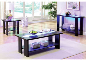 Luminar ll Espresso Coffee Table w/Tempered Glass Inlay & Embedded LED Lights