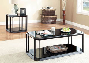 Alyeska Black Glass-Top End Table w/Shelf