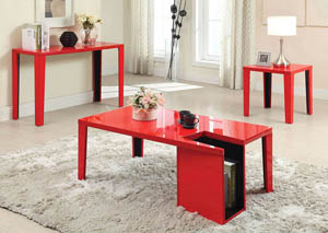 Lori 2-Tone Red Lacquer End Table