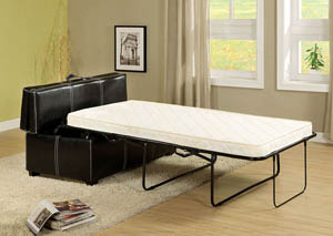 Appoline Black Leatherette Ottoman w/Pull-Out Twin Bed