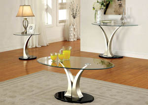 Valo Black Beveled Tempered Glass Top End Table w/V-Pedestal