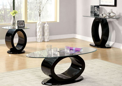 Lodia lll Black Lacquer Glass Top End Table w/O-Shaped Base