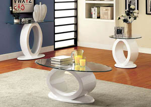 Lodia lll White Lacquer Glass Top End Table w/O-Shaped Base