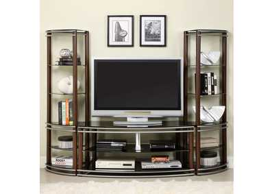 Silver Creek Brown & Silver Glass Top TV Console w/2 Pier Shelves
