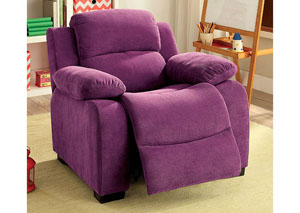 Connie Grape Kids Recliner Chair w/Storage