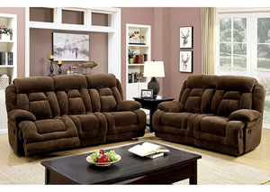 Grenville Brown Reclining Sofa and Loveseat