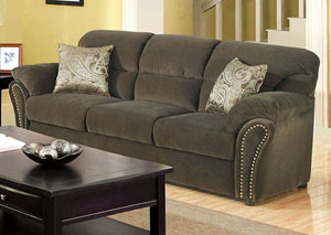 New Sarum Olive Gray Sofa w/Accent Pillows